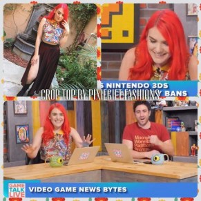 Mandie Roman on Game Talk Live wearing a Marvel Crop Top by Pixiegift Fashions (May 2017)